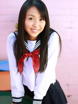Miyu Watanabe Asian in school uniform loves rubbing cunt of ball