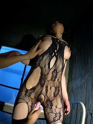 Nasty Asian tramp gets her rocks off as she is tied in chains and masturbated